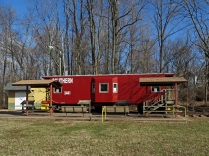 The former Southern Railway caboose in Bluemont Junction Park.
