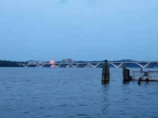 Wilson Bridge, and the lights of the Capital Wheel at National Harbor
