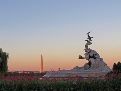"""Waves and Gulls,"" with the Washington Monument in the distance"